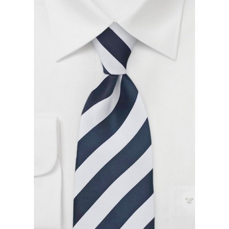 Classic Striped Tie in Dark Navy and White