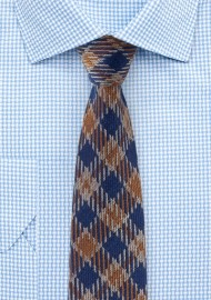 Vintage Plaid Wool Tie in Brown and Navy