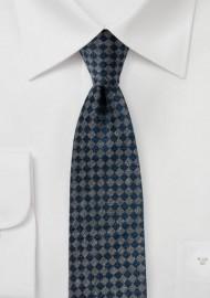 Gray and Navy Mini Check Tie