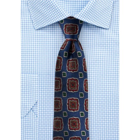 Retro Medallion Silk Tie in Slim Cut