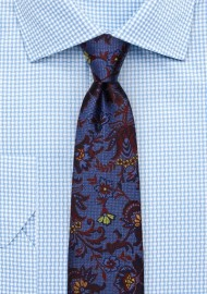 Delicate Floral Silk Tie in Blue, Burgundy, and Gold