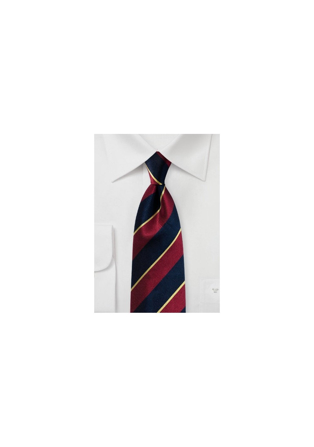 Classic Regimental Striped Tie in Navy, Burgundy, Gold