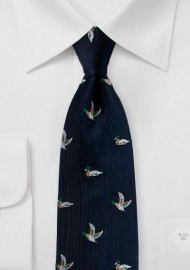 Midnight Blue Silk Tie with Embroidered Mallard Ducks