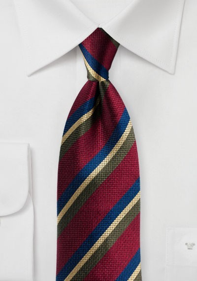 Burgundy Tie with Stripes in Green, Navy, Gold