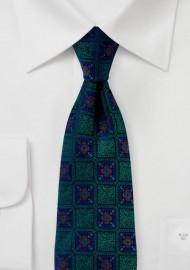 Medallion Weave Designer Tie Green and Blue