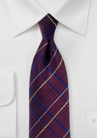 Glen Check Tie in Dark Burgundy