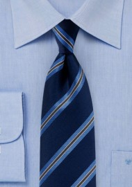 Dark Navy Striped Tie in Matte Finish