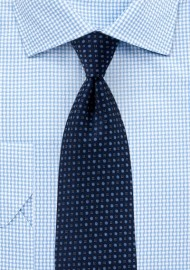 Dark Navy Tie with Woven Blue Dots