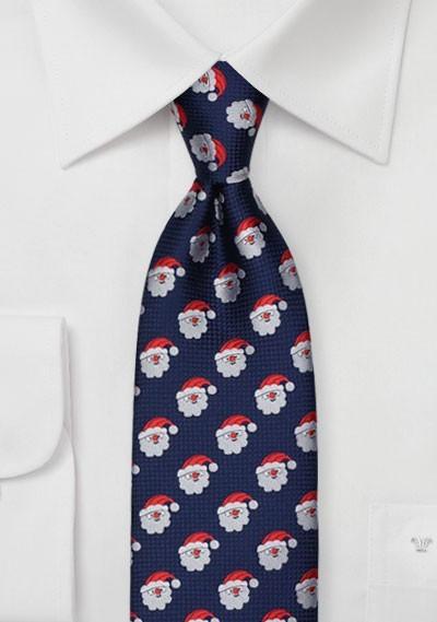 Dark Navy Tie with Embroidered Santas
