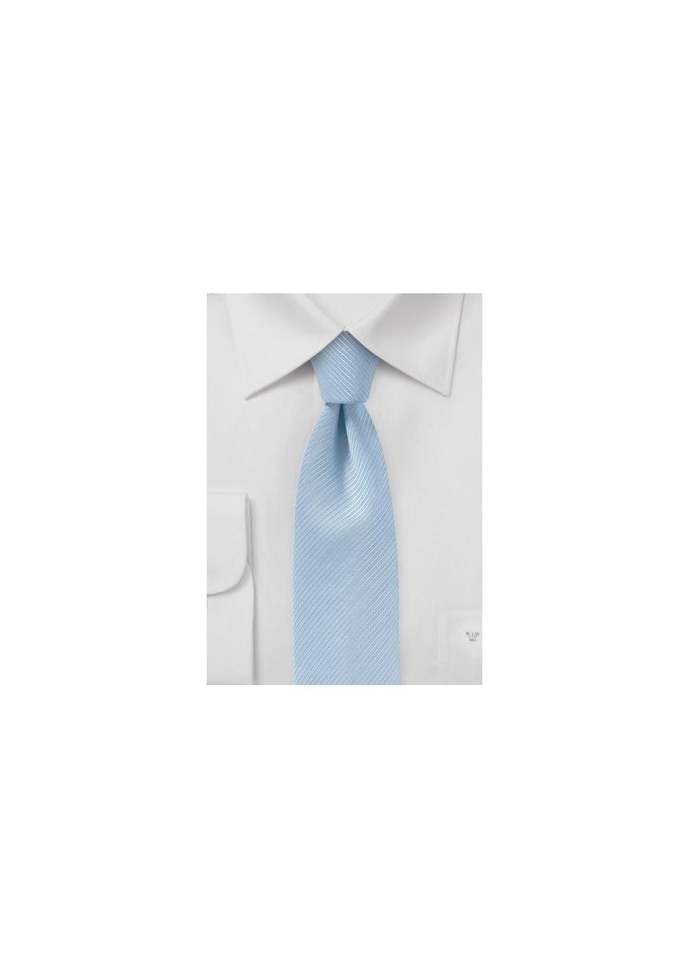 Sky Blue Ribbed Texture Skinny Tie