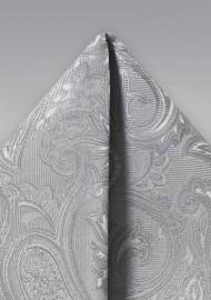 Silver Paisley Weave Hanky