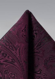 Claret Paisley Pocket Square