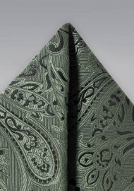 Paisley Pocket Square in Moss