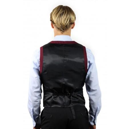 burgundy suit vest styled back