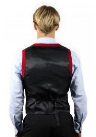 suit vest red with blue shirt