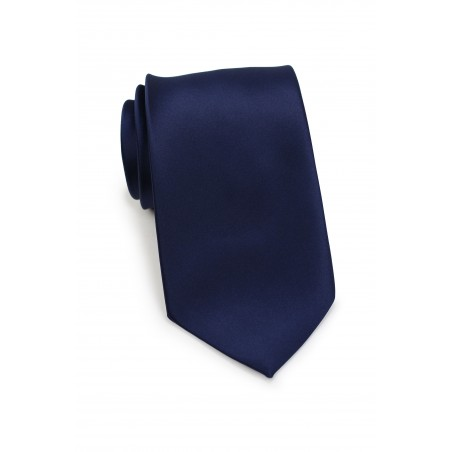 solid navy tie in satin finish