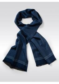 Royal Blue Dot Print Silk Scarf