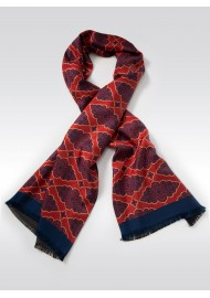Persian Geometric Print Silk Scarf in Maroon, Navy, Gold