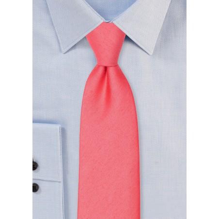 Linen Texture Necktie in Sunset Coral