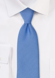 Ash Blue Linen Textured Necktie With Modern Cut