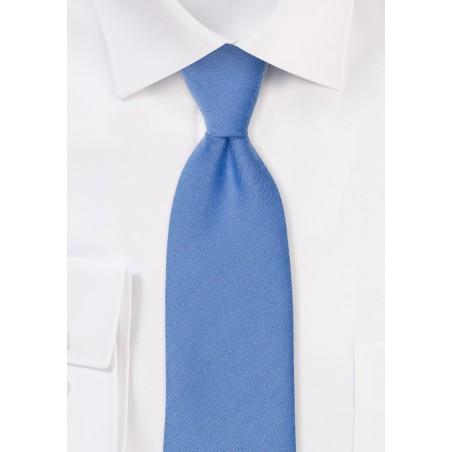 Ash Blue Linen Textured Necktie With Modern Cut