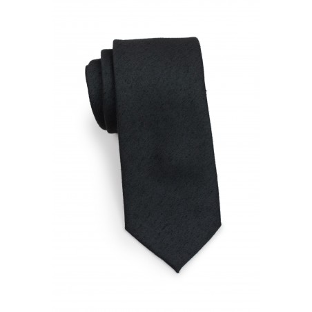 Woven Classic Black Mens Tie Rolled