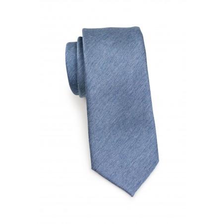 Steel Blue Necktie in Matte Woolen Finish Rolled