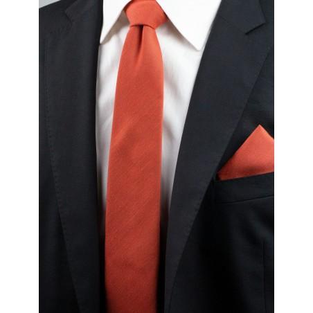 Matte Woven Tie in Cinnamon Styled