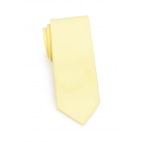 Linen Textured Necktie in Lemon Chiffon Rolled