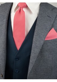 Linen Texture Necktie in Sunset Coral Styled
