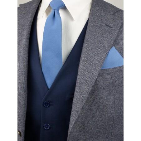 Ash Blue Linen Textured Necktie With Modern Cut Styled