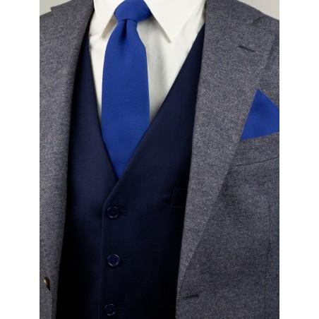Matte Slim Marine Blue Necktie Styled