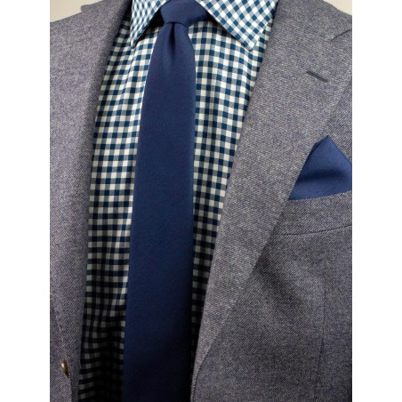 Matte Finish Tie in Navy Blue Styled