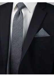 Charcoal Gray Heather Slim Tie Styled
