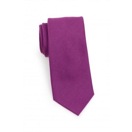 Woolen Matte Woven Tie in Sangria Rolled