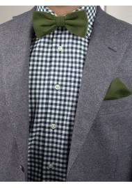 Woolen Bow Tie in Olive Green Styled