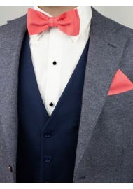 Coral Bow Tie in Linen Texture Styled