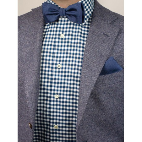 Heather Slate Blue Bow Tie Styled