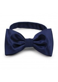 ribbed textured solid navy bow tie