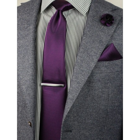 wine red necktie and hanky and floral pin set