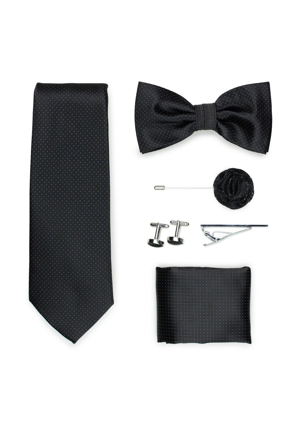 jet black menswear accessory set