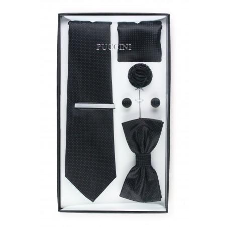 gift tie and bowtie set in jet black