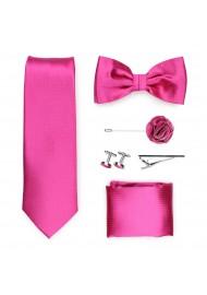 magenta pink formal tie set