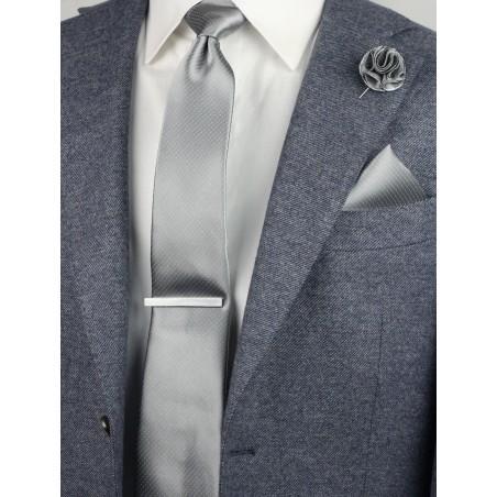 pin dot necktie in silver
