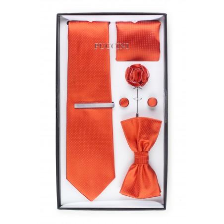 tie menswear set in bright orange