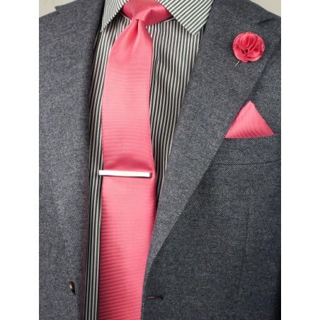 coral slim cut tie