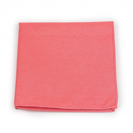 Sunset Coral Pocket Square in Linen Texture