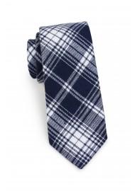 skinny tartan mens tie in dark navy