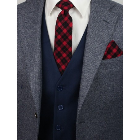 slim cut tartan plaid mens tie in crimson and black