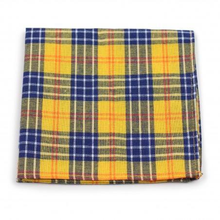 tartan plaid suit pocket hanky in amber yellow